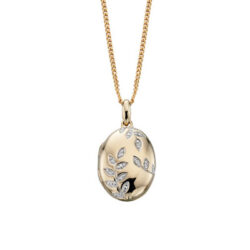 Gold Oval Locket & Diamond leaf pattern