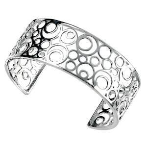 Elements Silver Circles Openwork Cuff Bangle