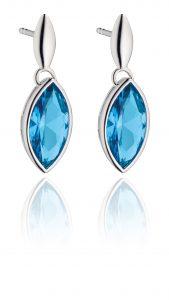 Fiorelli Silver Drop Blue Cubic Zirconia Earrings