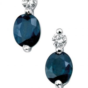 Blue Sapphire & Diamond Oval Earrings