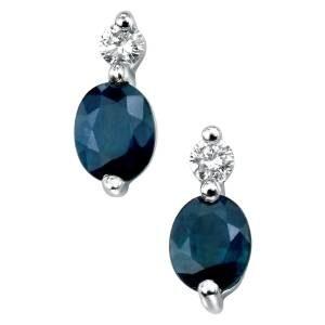 blue Sapphire & diamond earrings, earrings white gold
