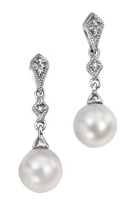 Drop Diamond & Pearl Earrings White Gold