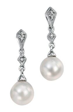 Drop Diamond & Pearl Earrings White Gold
