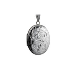 Silver Locket, Locket, Silver Engraved Locket,