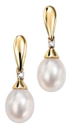9ct Yellow Gold Diamond Drop Pearl Earrings