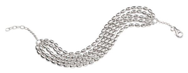 Silver Five Layer oval Bead Bracelet, Oval Bead Bracelet,