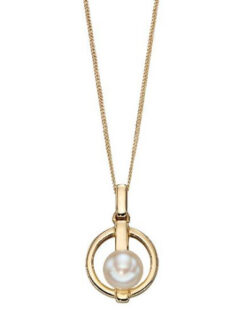 white pearl yellow gold bar pendant